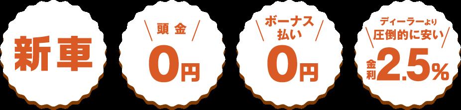 新車 頭金0円 ボーナス払い0円 ディーラーより圧倒的に安い金利2.9%